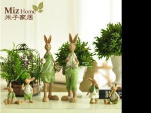 米子家居创意工艺礼品田园装饰摆件 树脂动物绿色兔子客厅摆饰